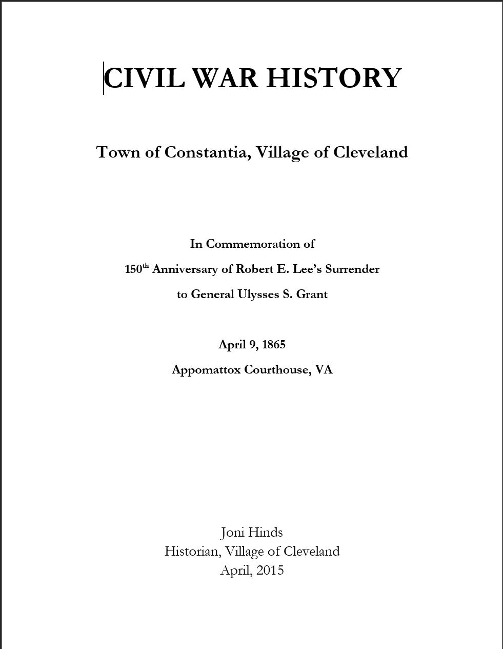Civil War History, Town of Constantia, Village of Cleveland